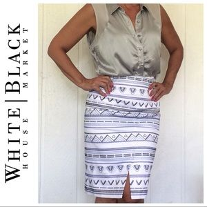 White House Black Market Skirts - WHBM EMBROIDERED COTTON PENCIL SKIRT SIZE 6P